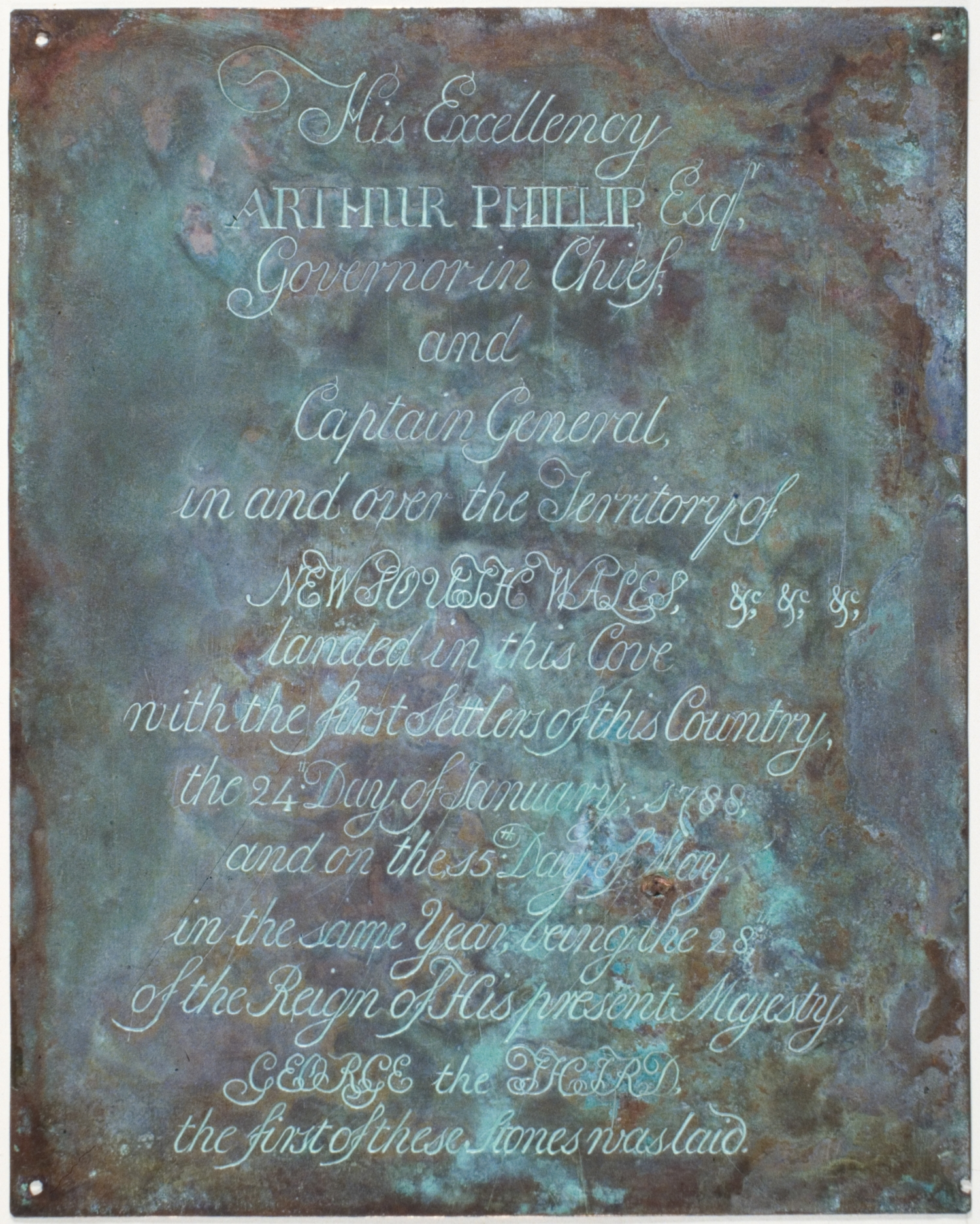 Copper plate with inscription: His Excellency Arthur Phillip Esq. Governor in Chief and Captain General in and over the Territory of  New South Wales,&c, &c landed in this Cove with the first Settlers of this Country, the 24th Day of January 1788;...