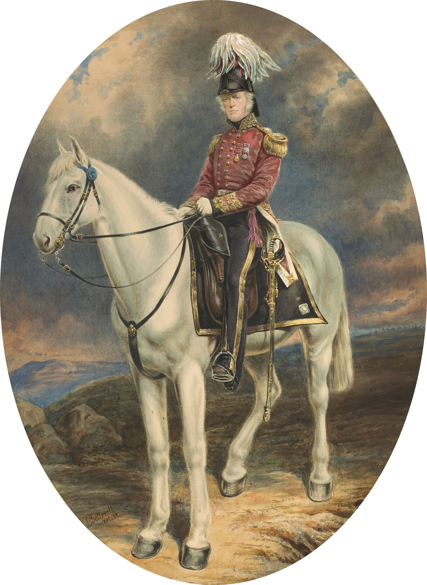 Cameo portrait of man in hunting colours on white horse.