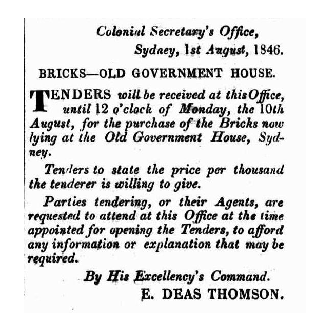 Article from the New South Wales Government Gazette, published on 4 August 1846.