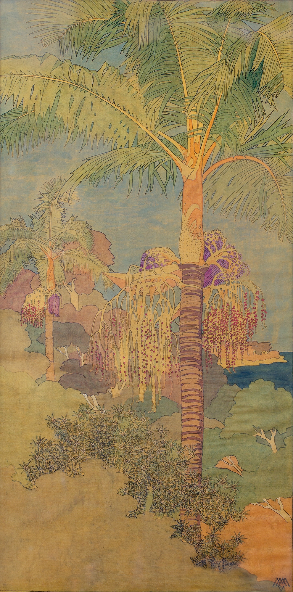 Tall painting of palm trees and surrounding landscape.