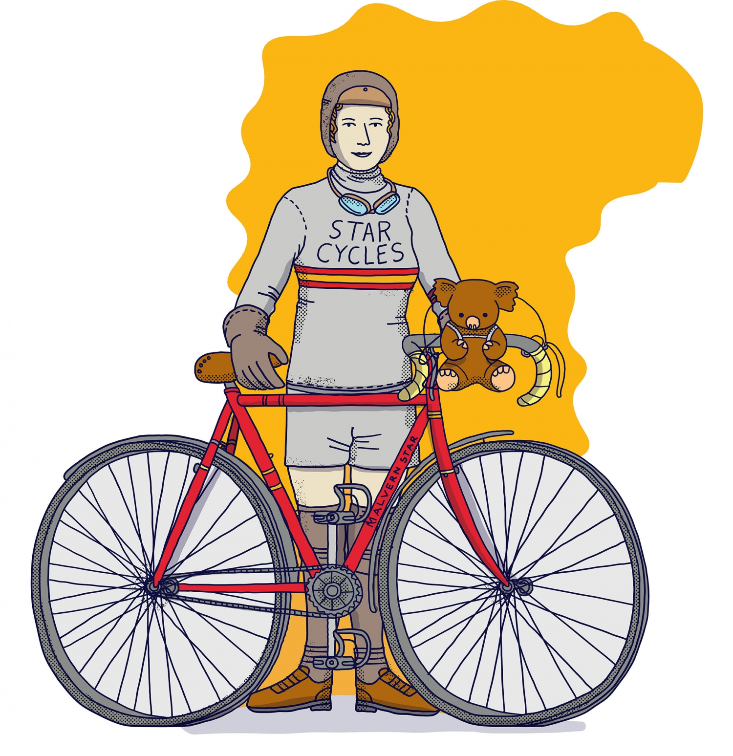 Illustration of woman with bicycle.