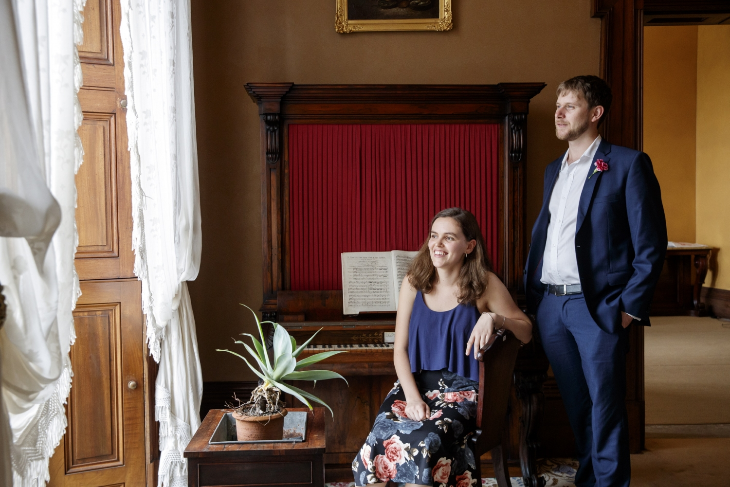 Performers James Doig and Nyssa Milligan in the drawing room at Elizabeth Bay House.