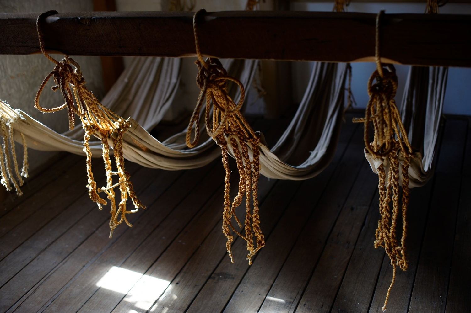 Closeup of hammocks showing rope attachments to beam.