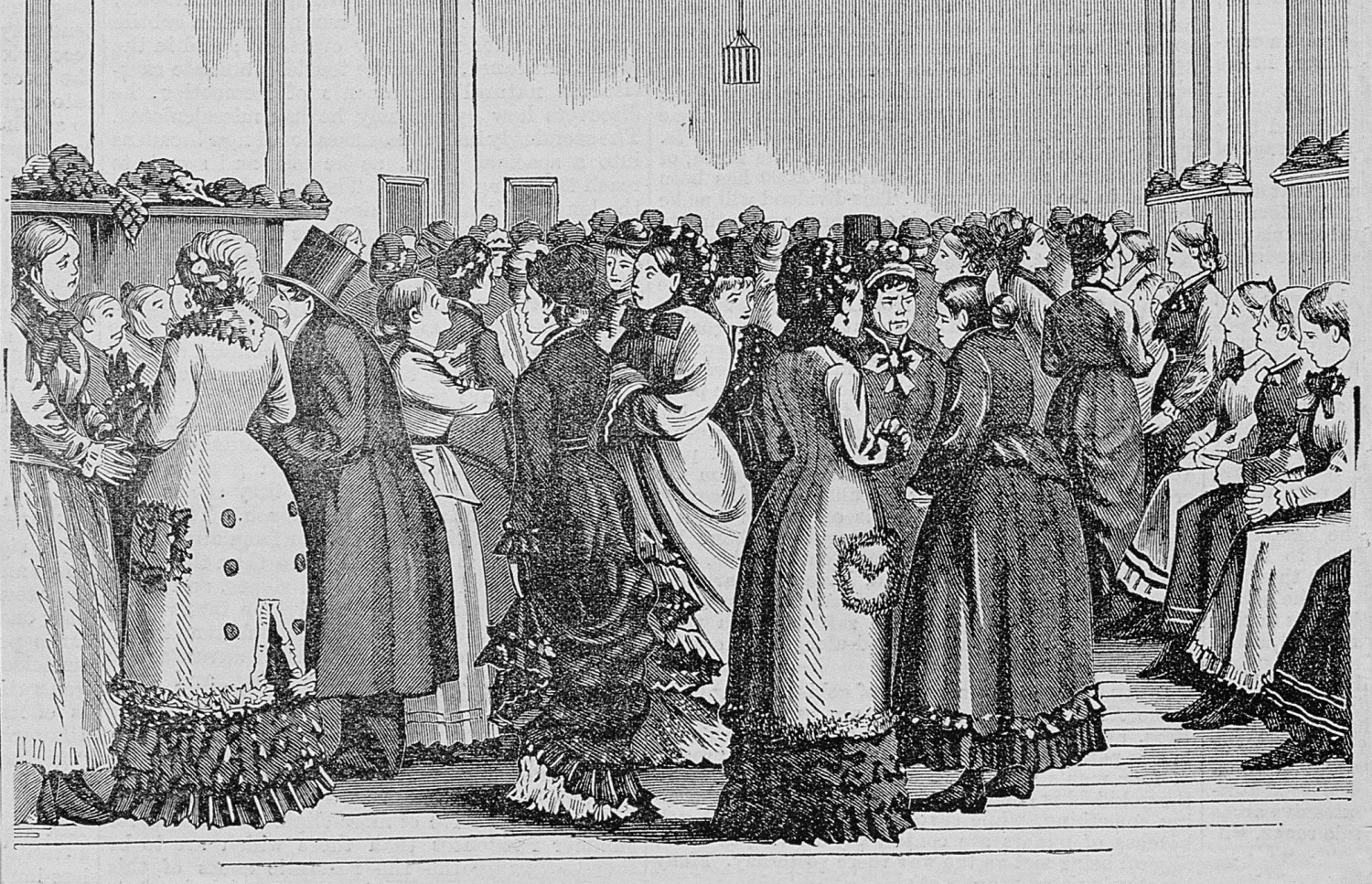 Drawing showing a large room filled with women and girls talking in groups. The women are wearing Victorian dresses and hats.
