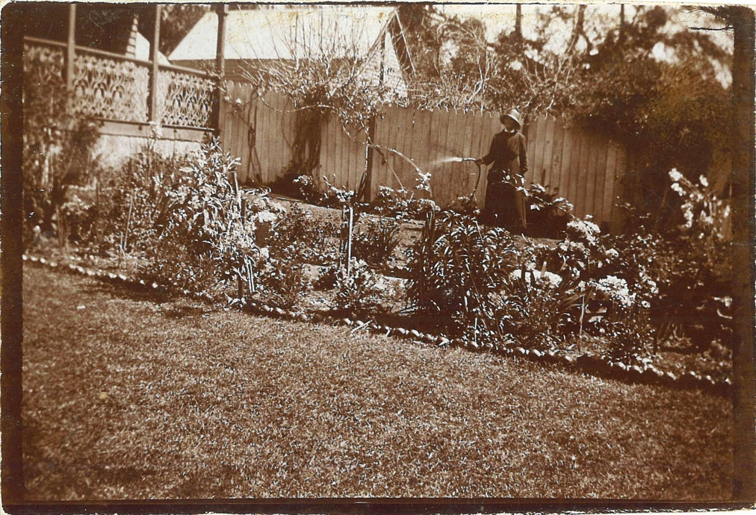 Black and white photo of garden beds.