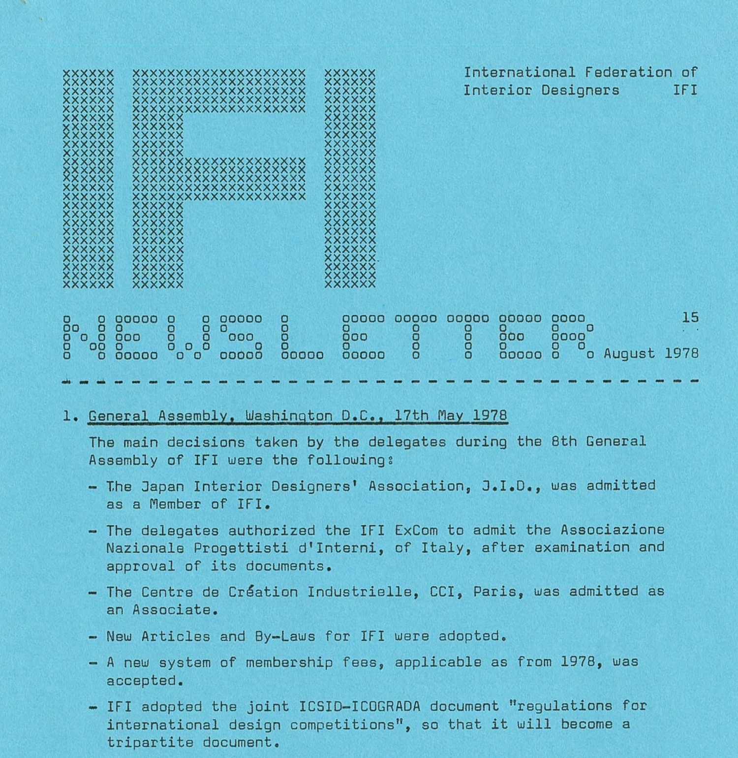 International Federation of Interior Designers newsletter