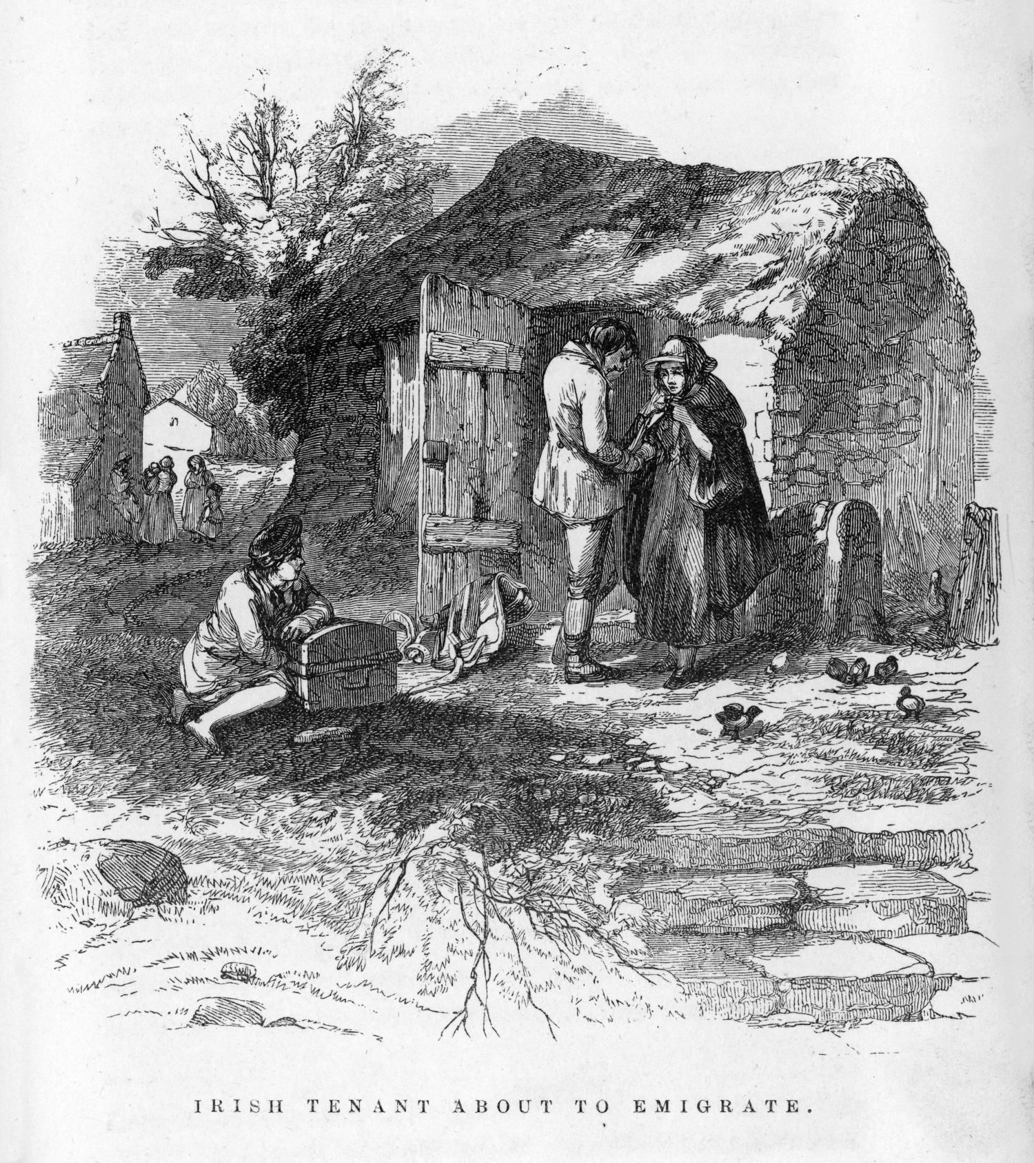 Illustration showing starving and desperate Irish cottagers forced to leave their home.