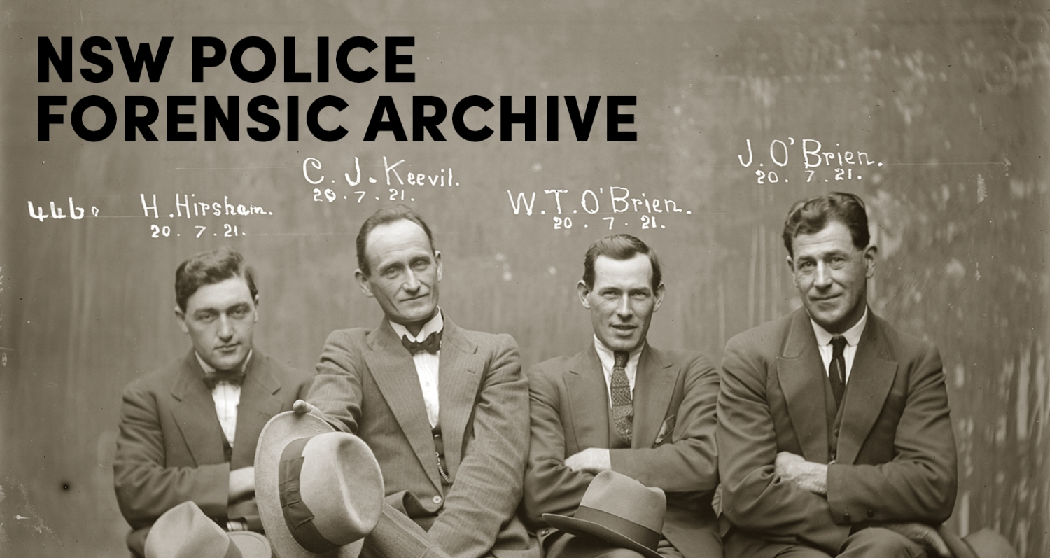 Mug shot of Hampton Hirscham, Cornellius Joseph Keevil, William Thomas O'Brien and James O'Brien, 20 July 1921, Central Police Station, Sydney.