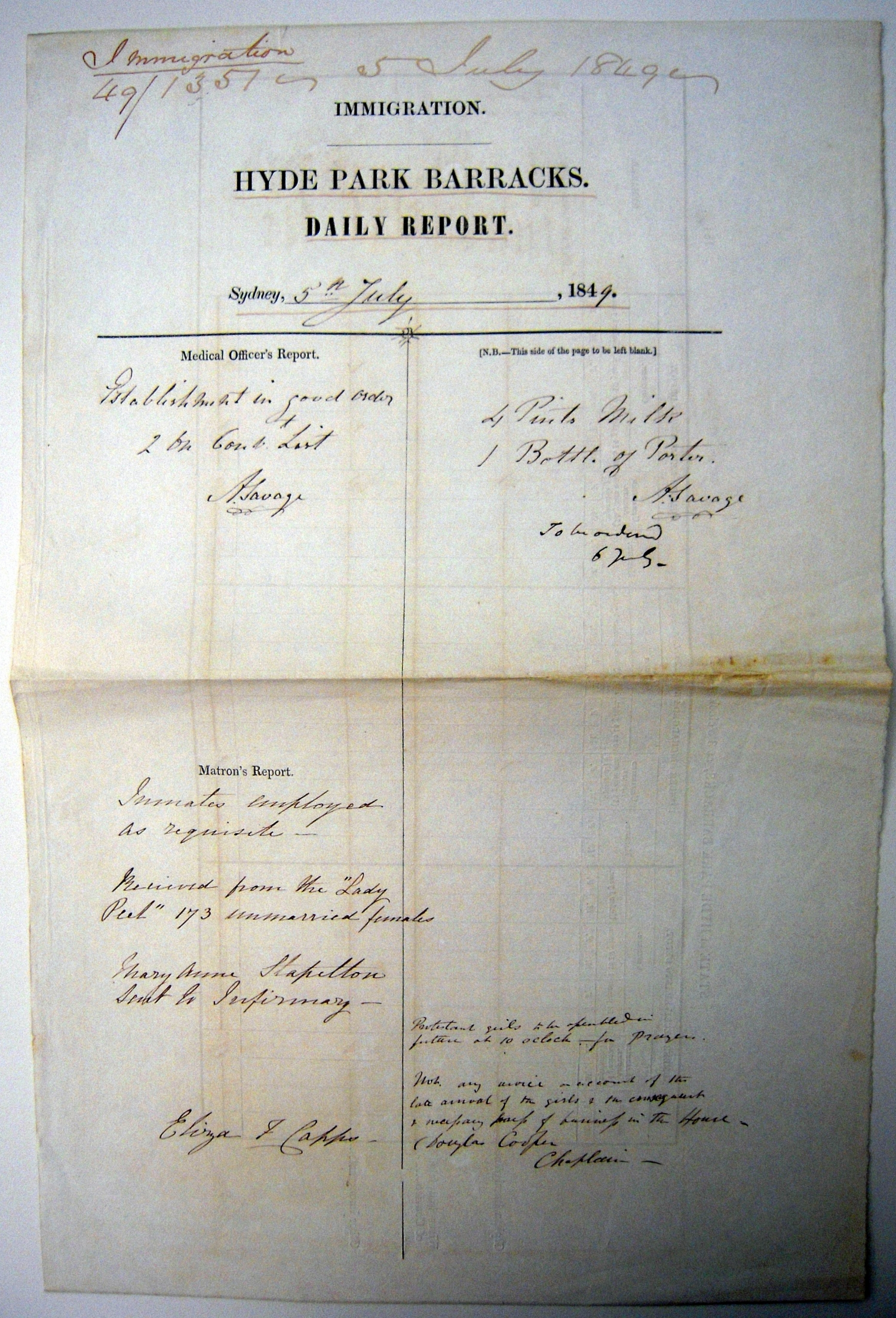 Ornately lettered report headed: Immigration | Hyde Park Barracks Daily Report. with subsection headed Matron's report with name of ship.
