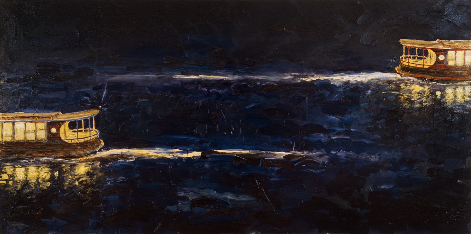 Dark painting of two lit-up boats with light reflecting on water.