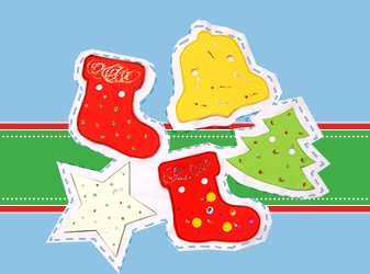 Selection of Christmas shapes in bright colours.