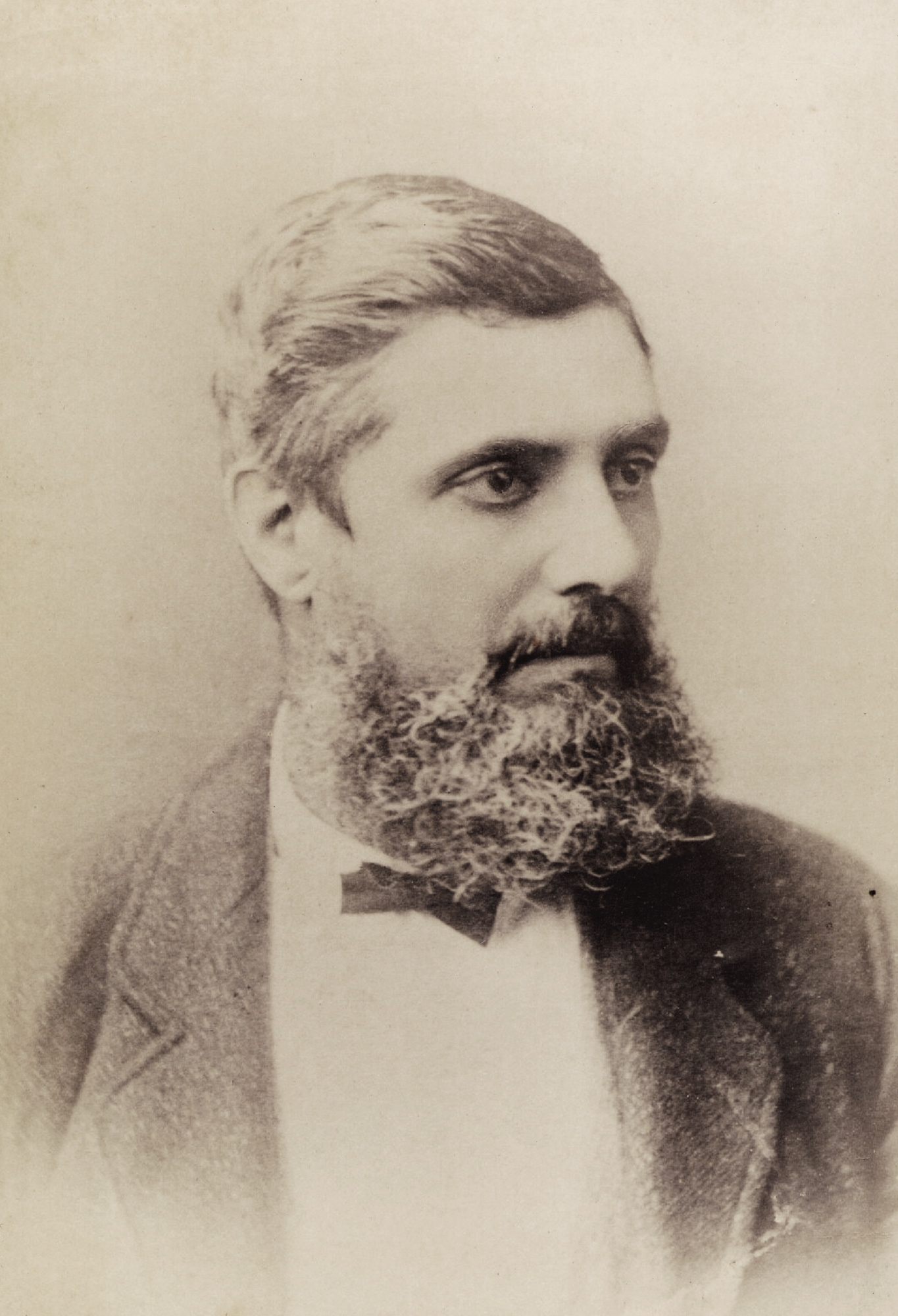 Bearded man, with bow tie and suit.