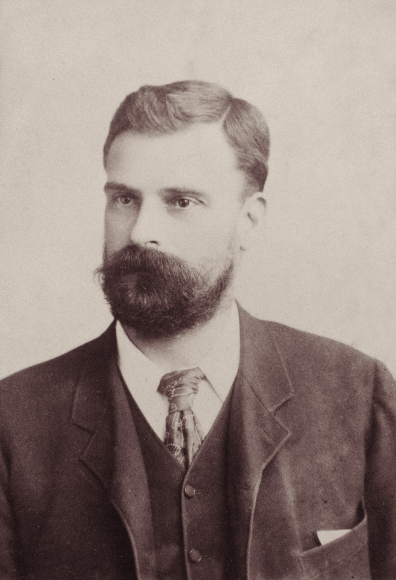 Bearded man in suit and tie.