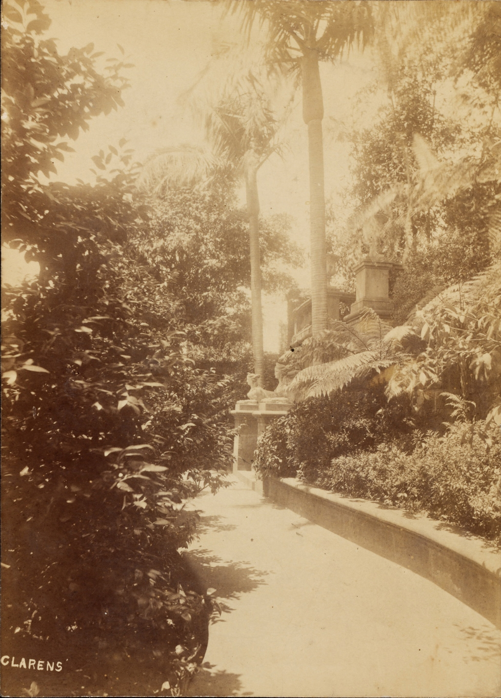Black and white photograph of the garden at Clarens.