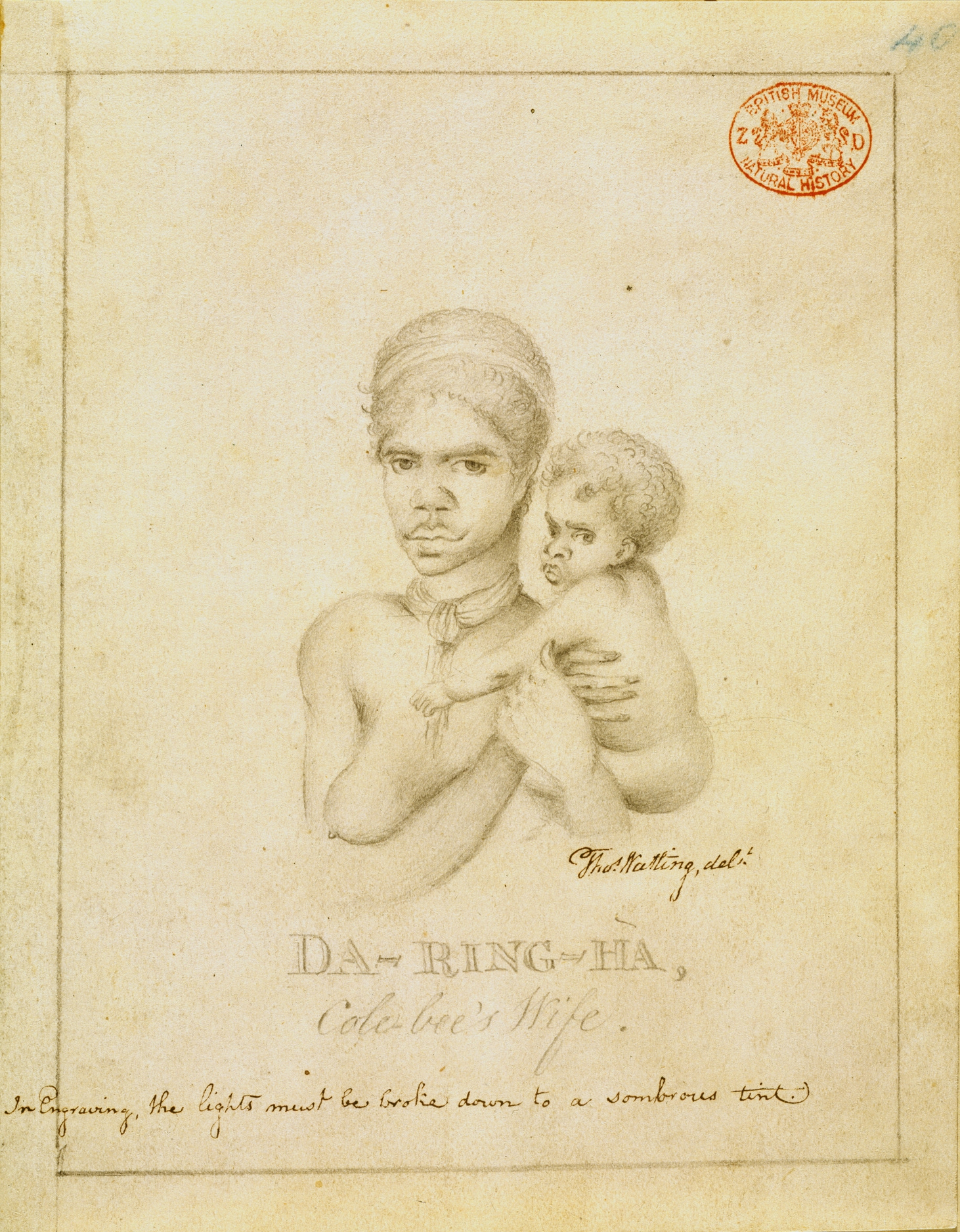 Drawing of woman holding baby with writing below the image title, which is Da-Ring-Ha, Cole-bee's wife.