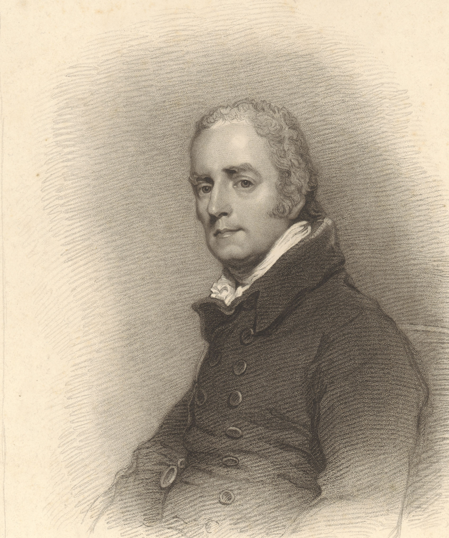 B/W portrait of man wearing dark coat looking sideways towards the artist with grey hair and white shirt collar.