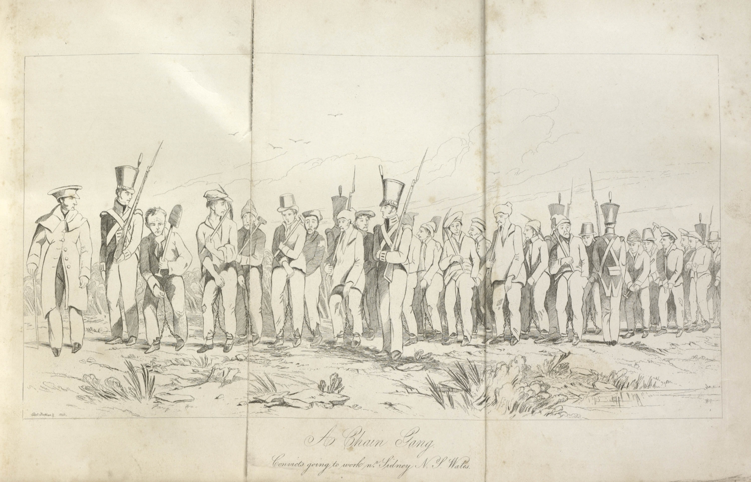 Etching showing a large group of convicts marching under an escort of soldiers