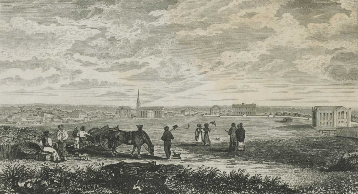 Etching showing workers and sydneysiders in the foreground with the Hyde Park Barracks visible in the background.