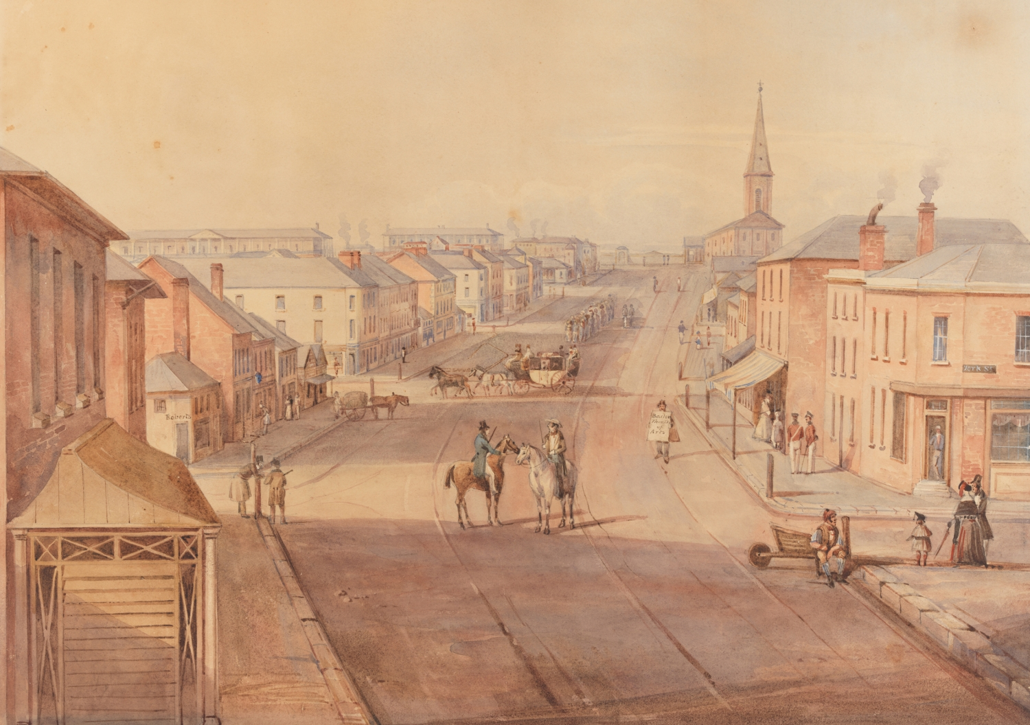 Watercolour painting of streetscape with barracks and church in distance.