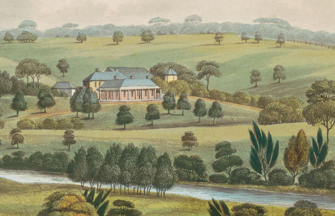 Detail of a painting of Elizabeth Farm from a distance.