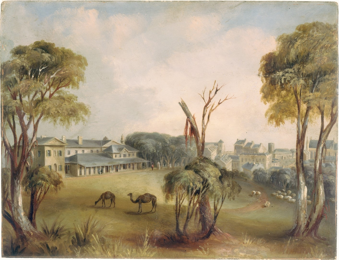 Painting of landscape with building in distance, a pair of camels grazing in centre and sheep to right.