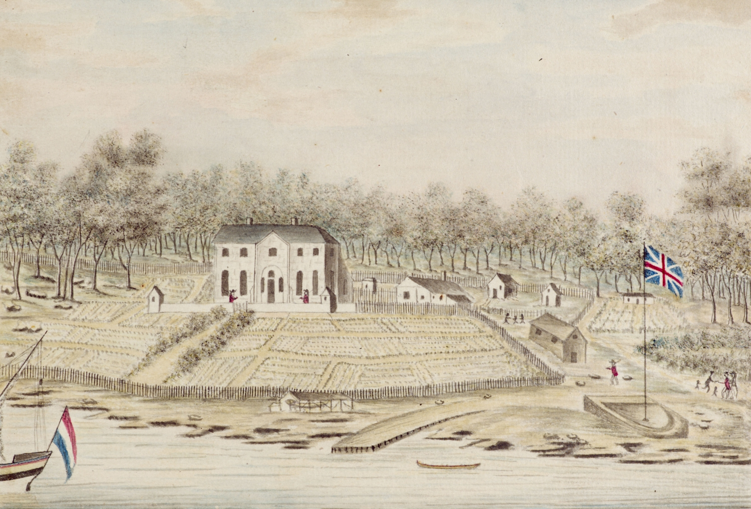 Drawing showing a 2 stroey house on a hill overlooking shoreline. There are temporary structures in the adjoining garden like tent and shack.