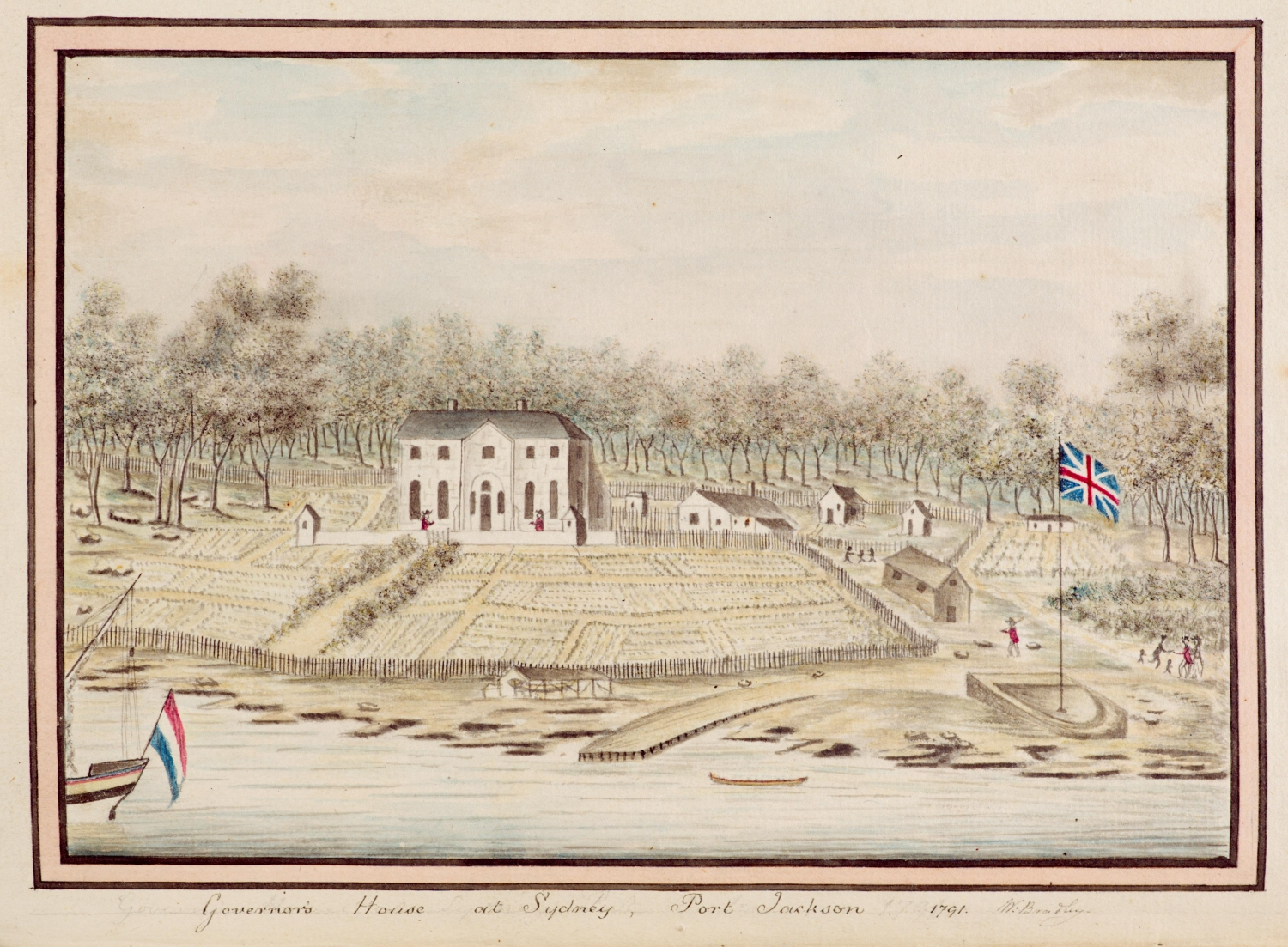 Drawing of first Government House created by William Bradley, 1791.