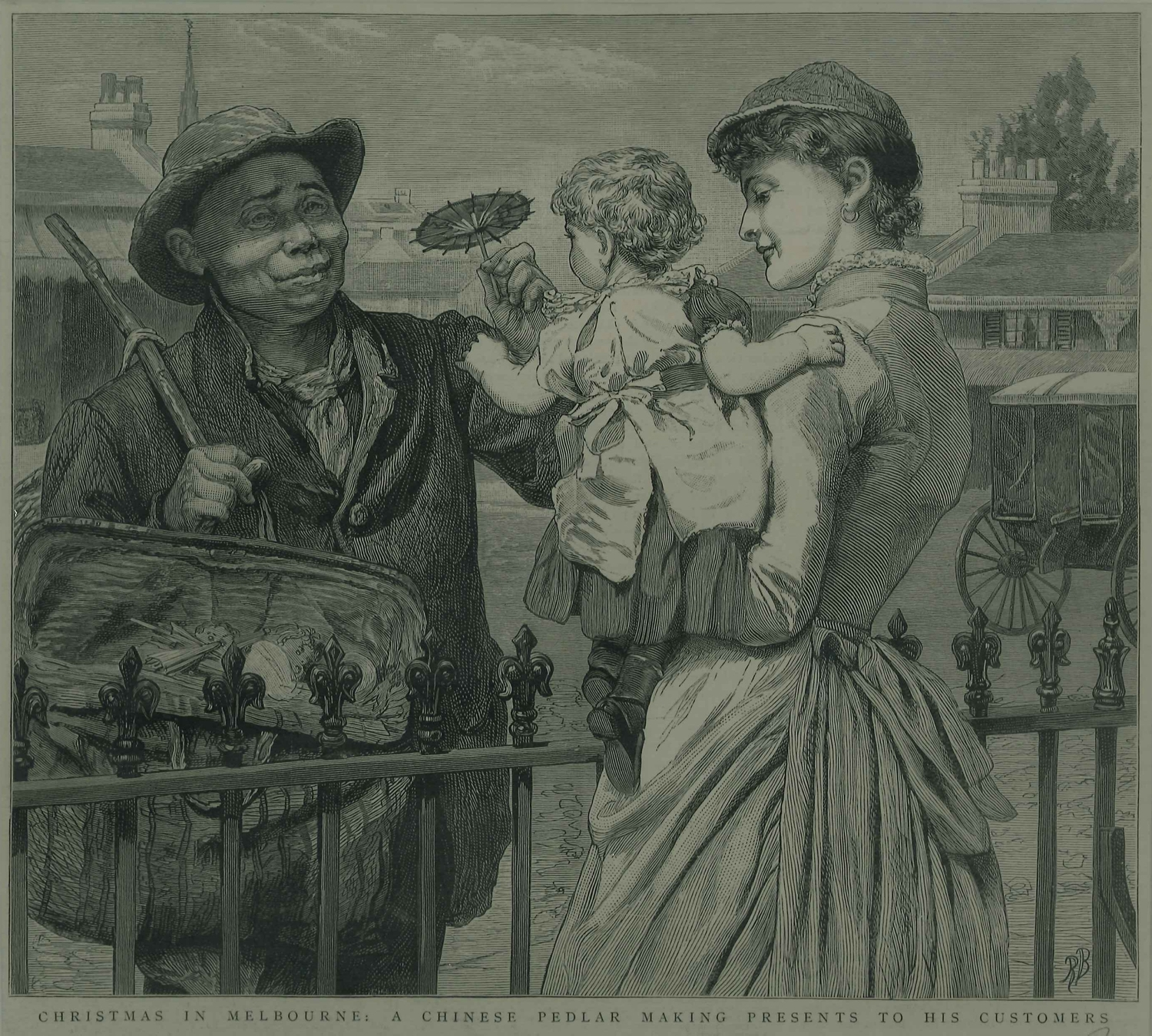 Black and white illustration of man with woman and child.