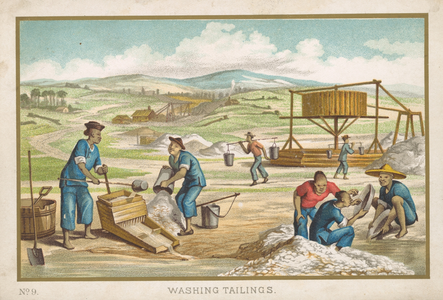 Illustration of goldfields with figures dressed in Chinese-style clothing working.