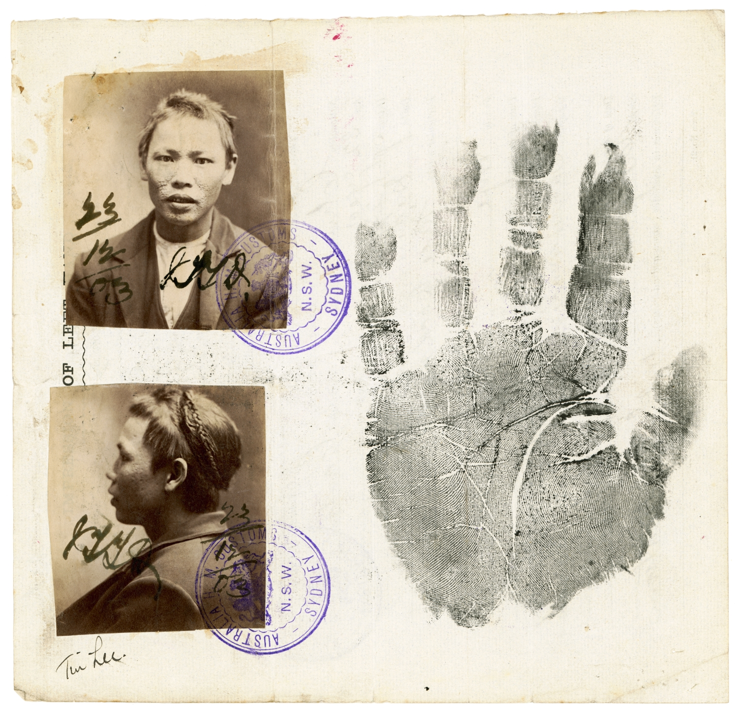 Certificate incorporating two photographs and left hand impression