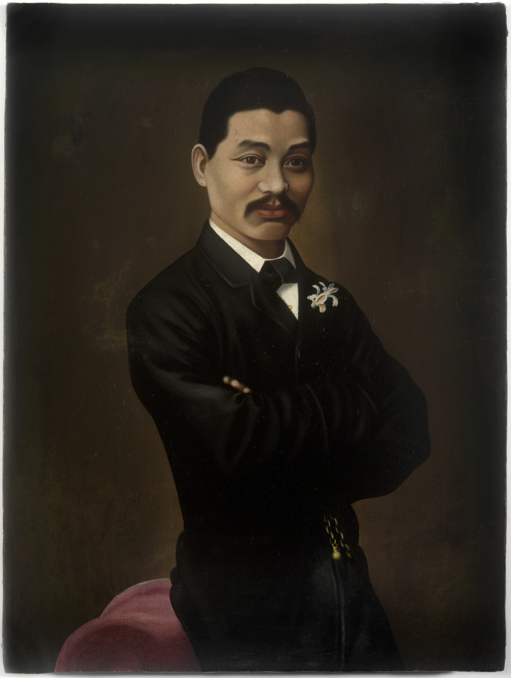 Oil painting of man in dark suit.
