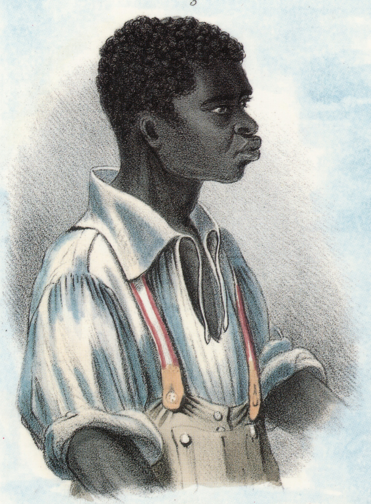 Illustration of man in white open-necked shirt.