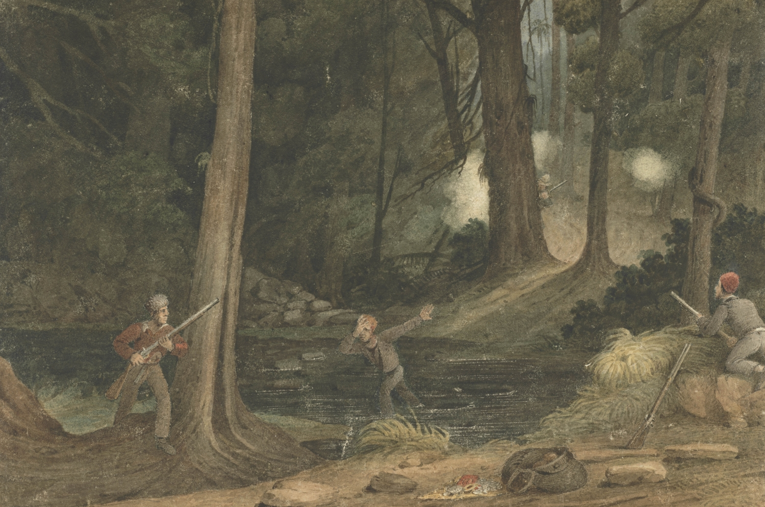 Three bushrangers appear to be startled and in battle with a group hidden in the trees. Amongst them is a large bag that looks to be fill of treasure