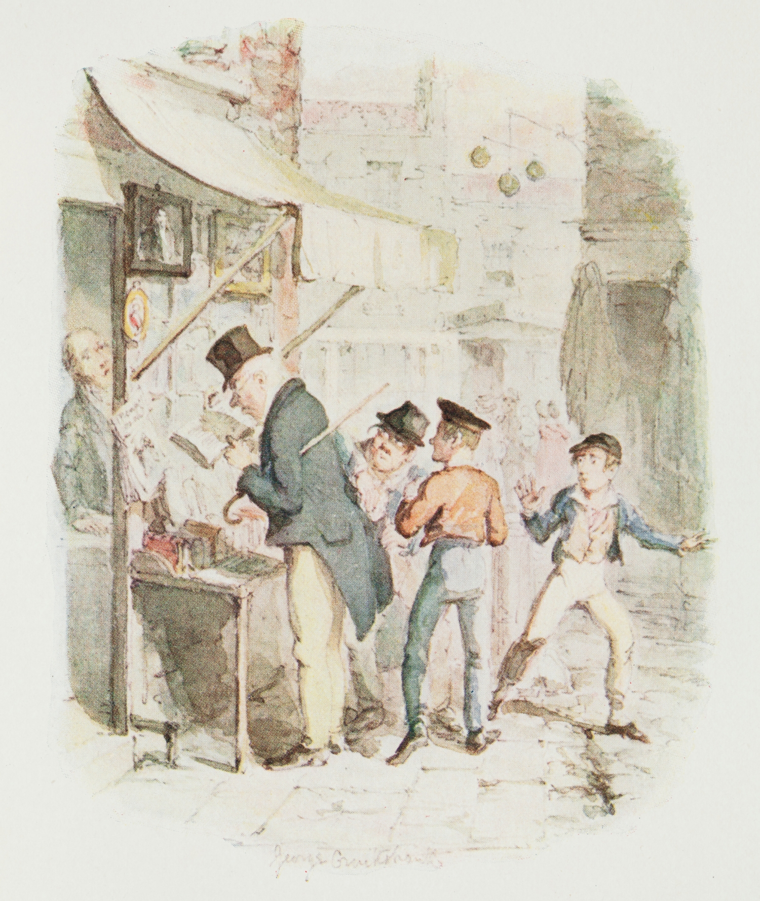 Colour illustration of group of boys.