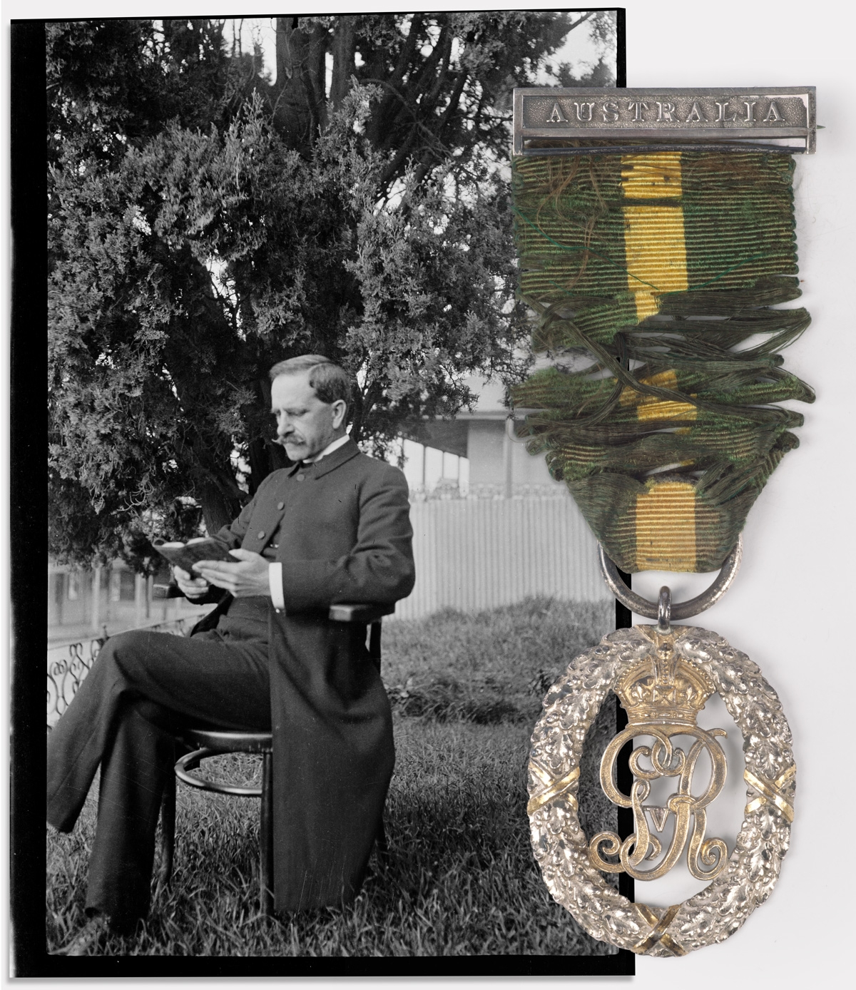 Photo of man in uniform with medal overlaid.