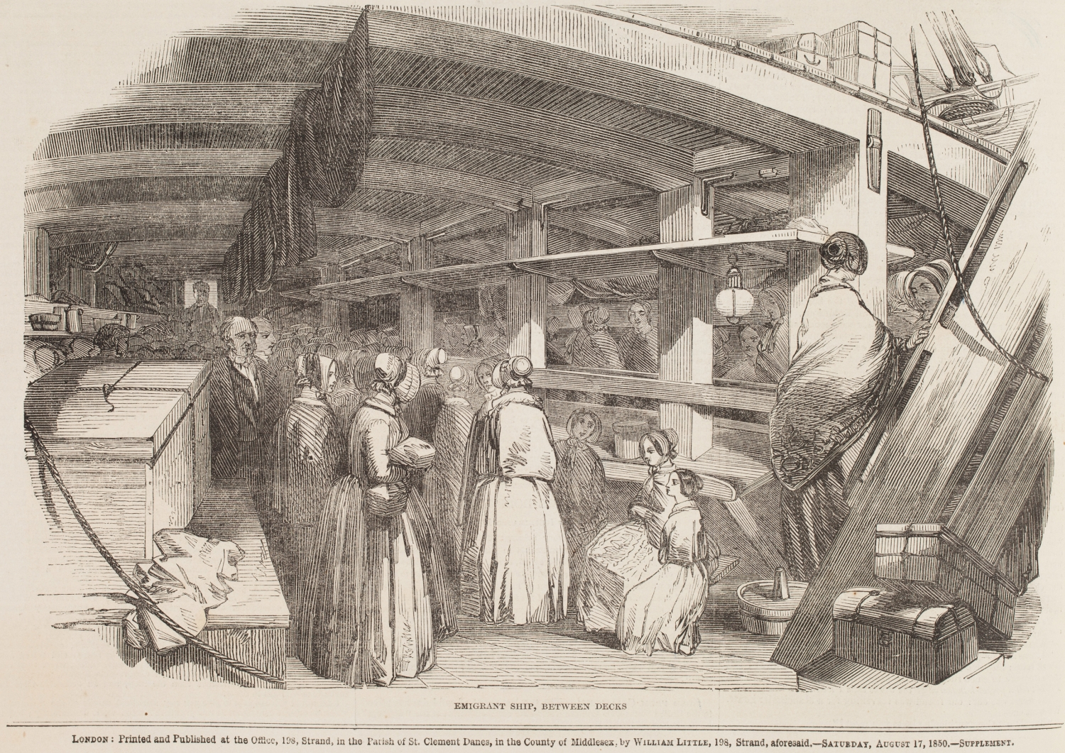 Engraving of interior of wooden ship with women.