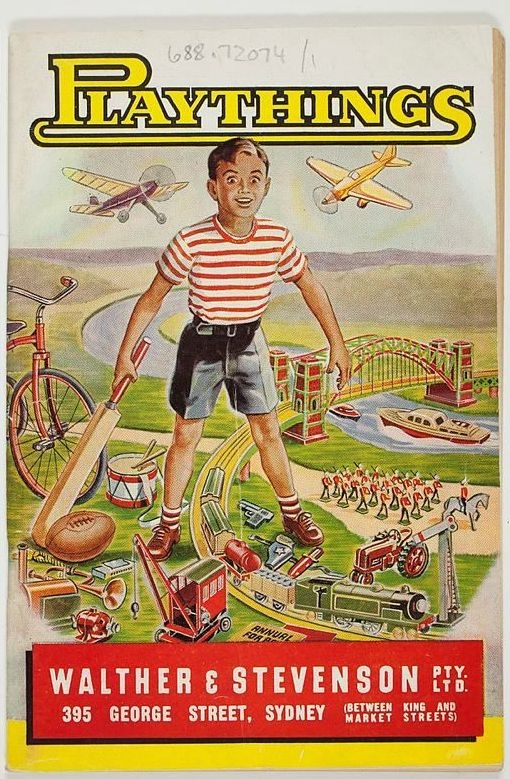 Front cover of toy catalogue Playthings featuring boy with toys