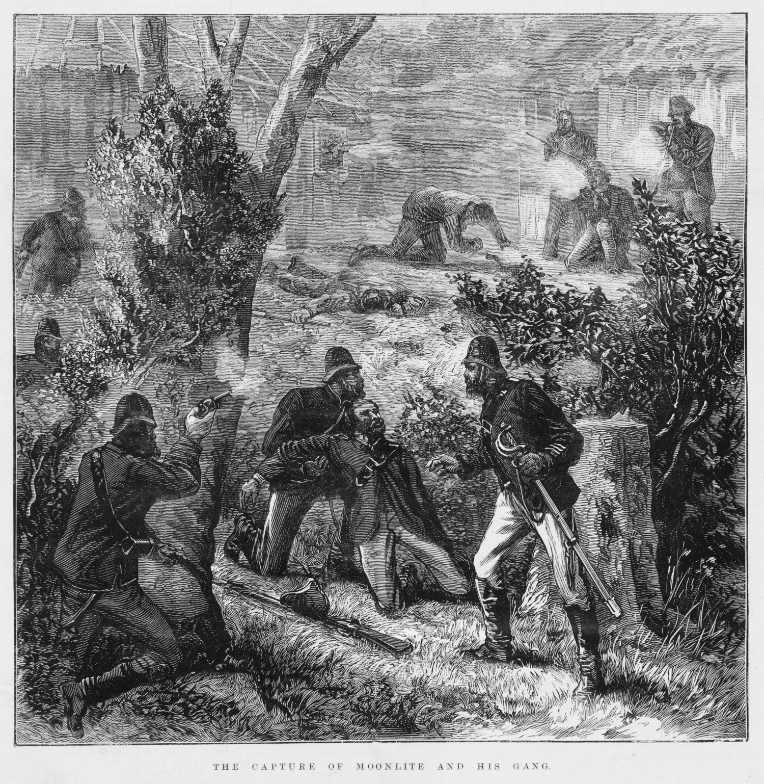 Black and white engraved illustration of shootout between bushrangers and police.