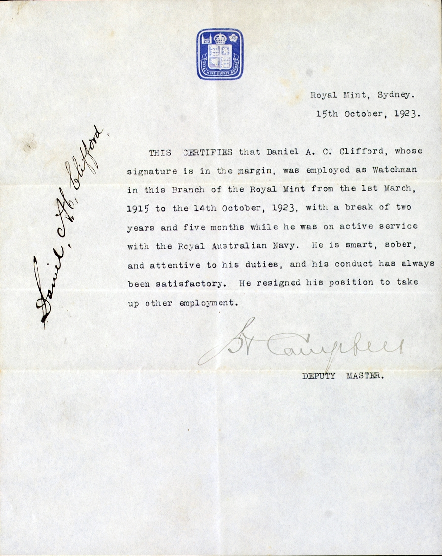 Typed letter with blue logo at top centre and signature.