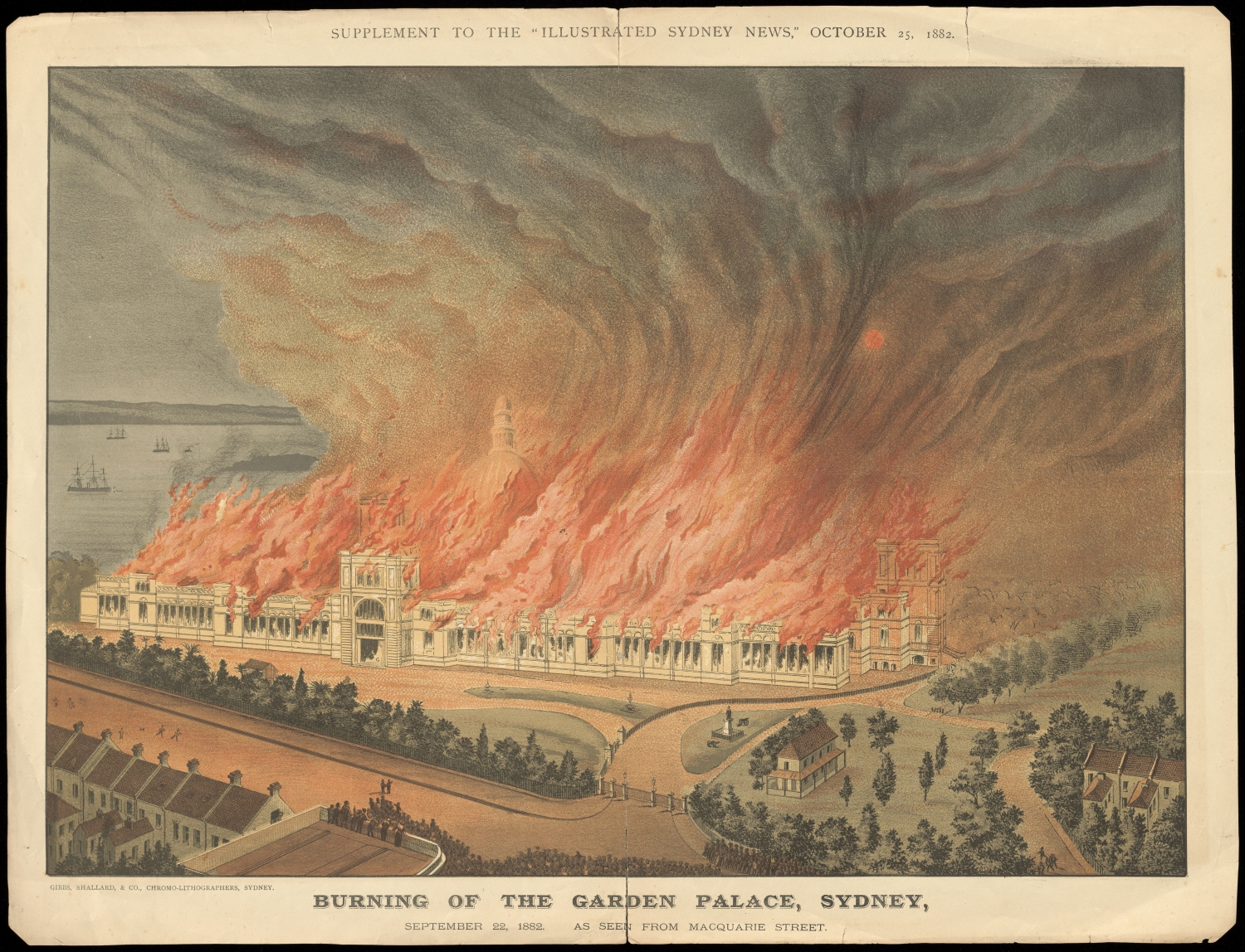 Illustration of the Garden Palace burning in the Royal Botanic Garden.