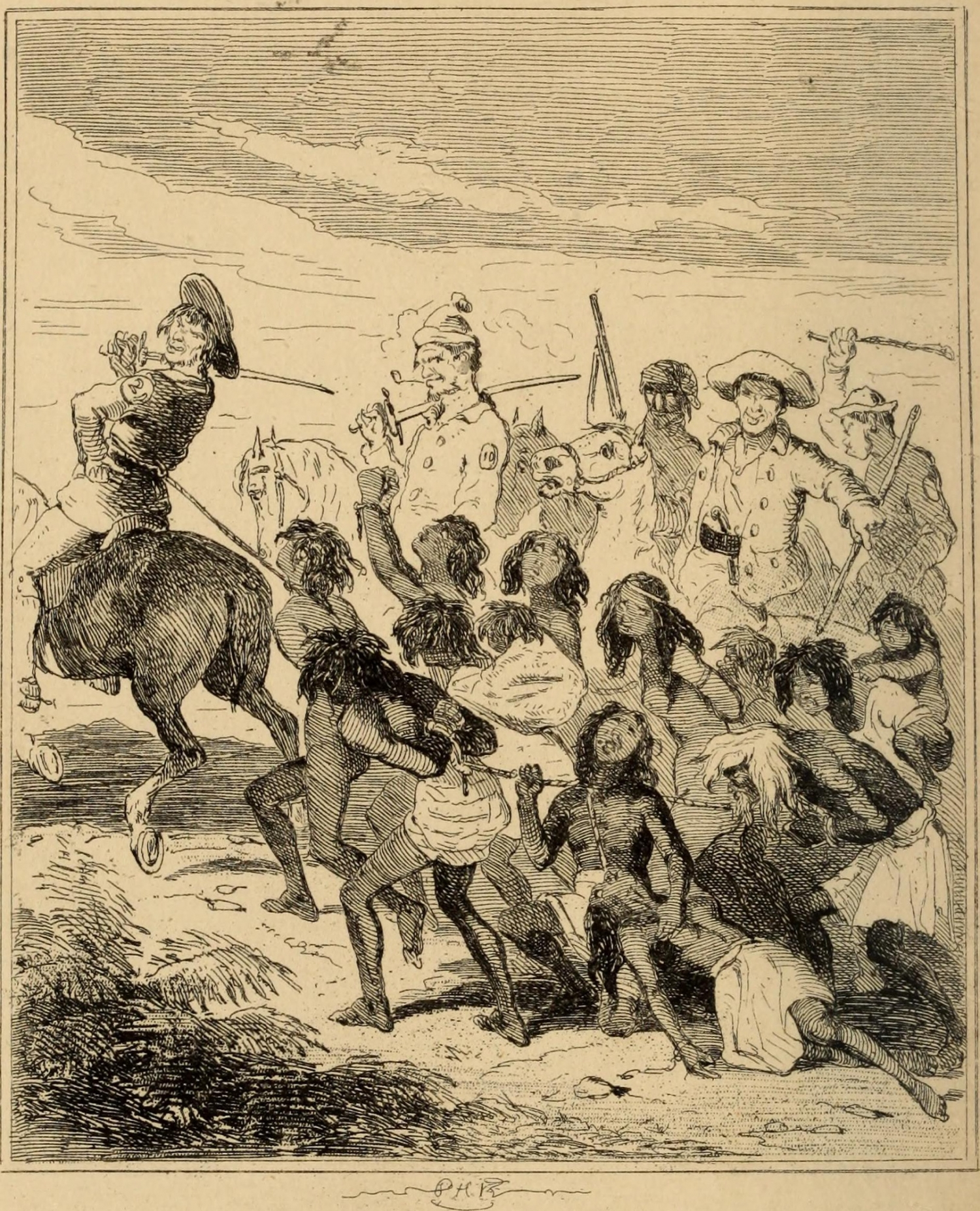 Illustration from book of a group of Aboriginal people being rounded up by white men on horseback.