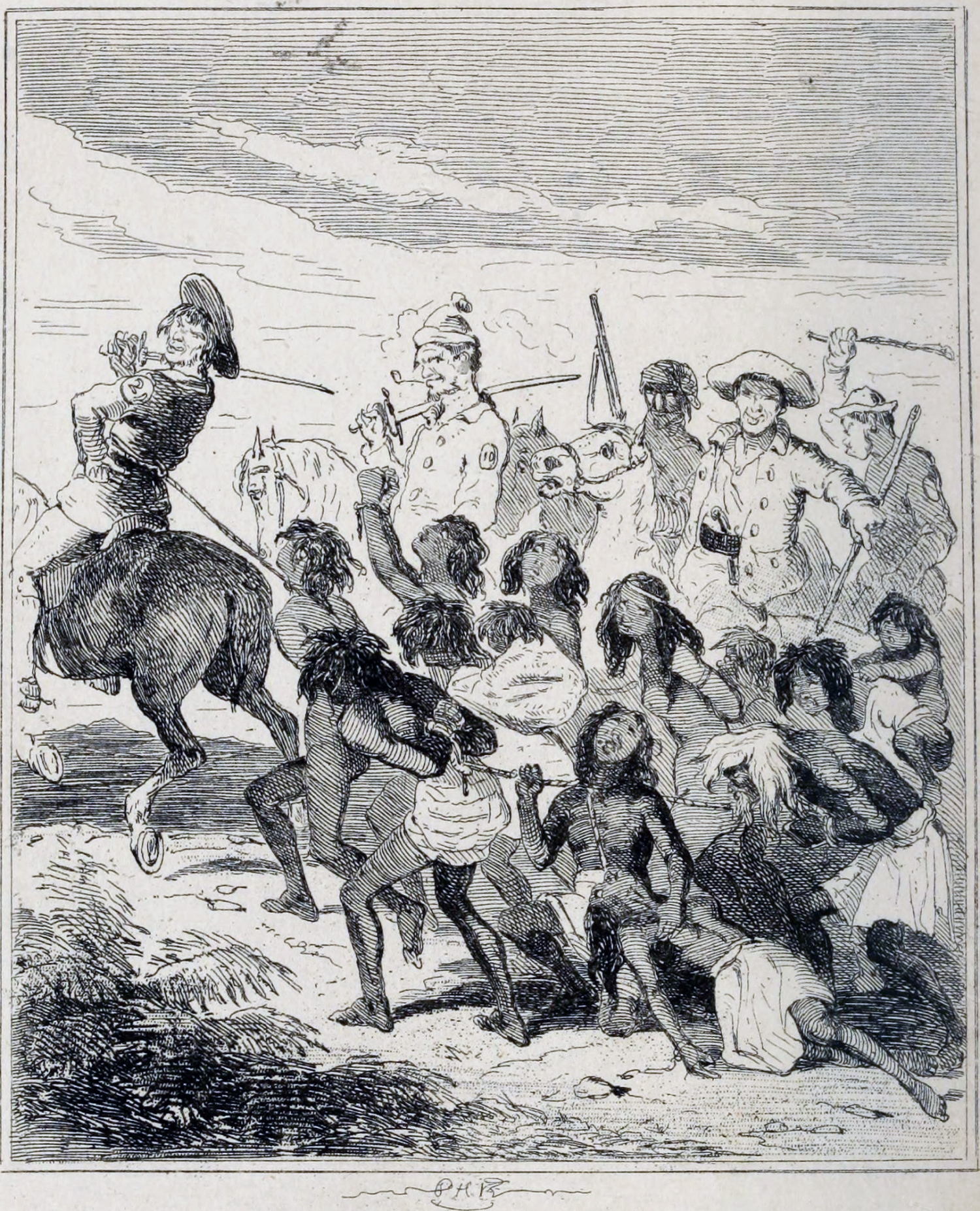 Print showing Aboriginal people being rounded up by men on horseback with weapons.