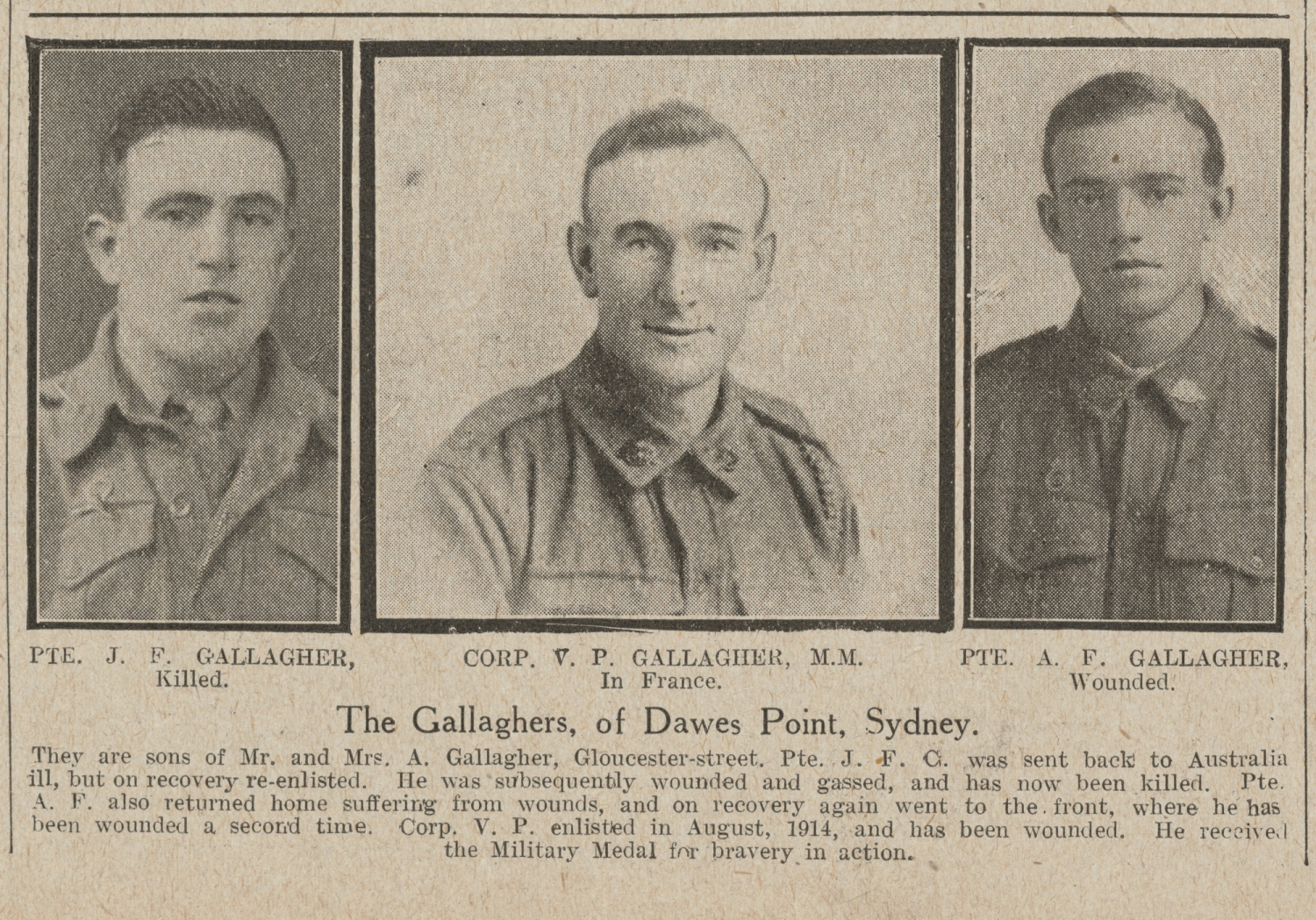 Newspaper clipping showing the three Gallagher boys.