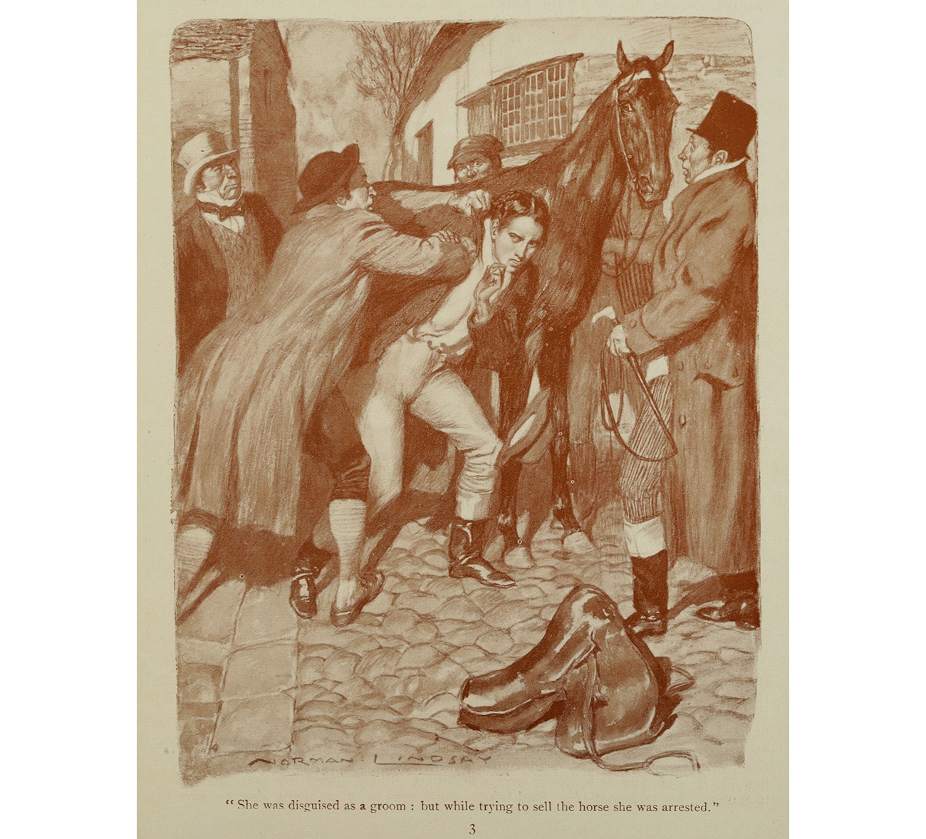 'She was disguised as a groom: but while trying to sell the horse she was arrested'/ illustration by Norman Lindsay