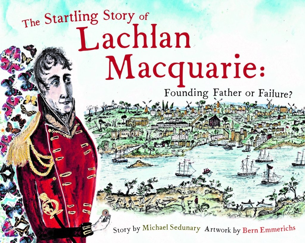 Cover of illustrated children's book with man in red coat and scene of Sydney behind.