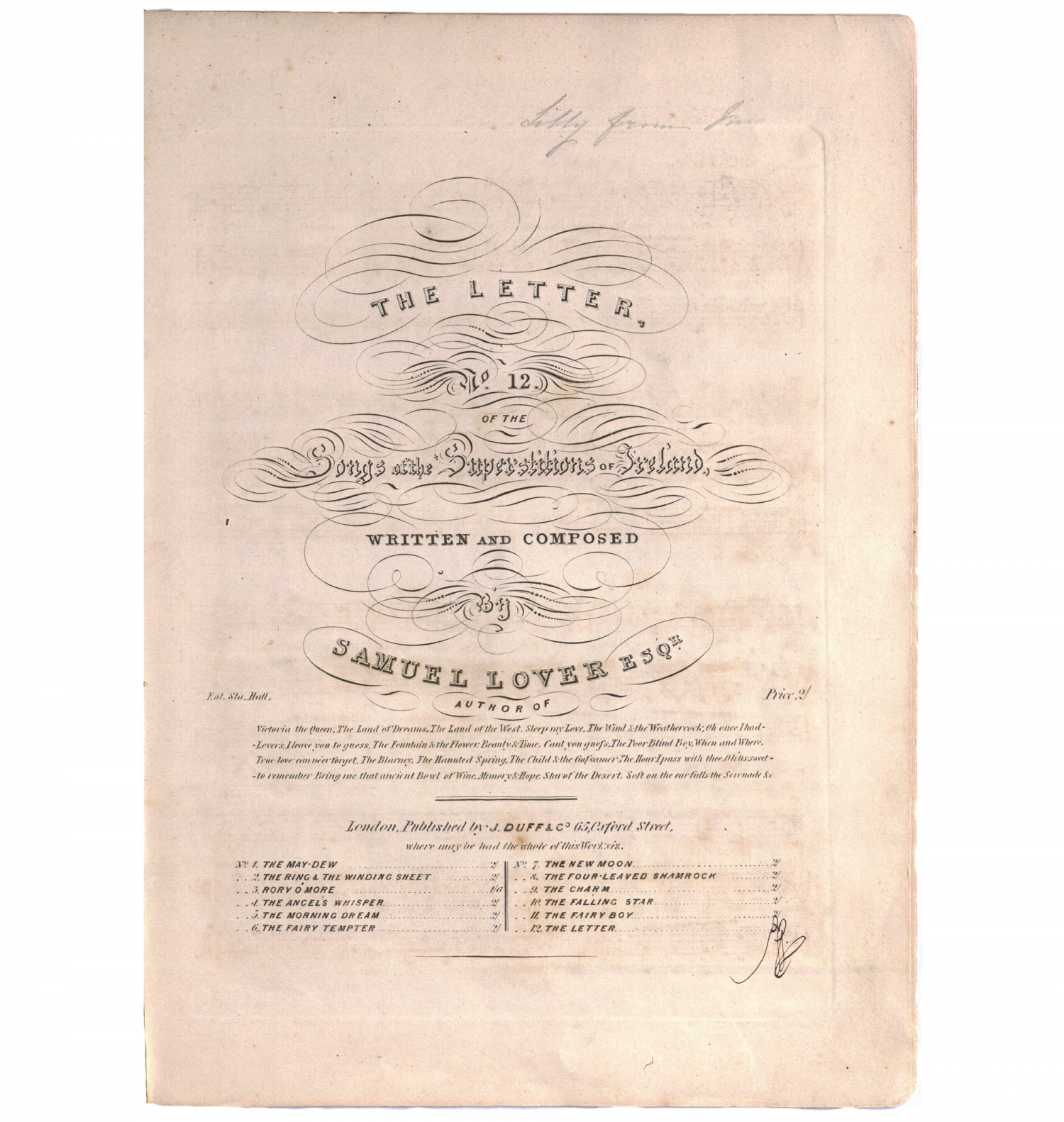 Cover, 'The letter' by Samuel Lover, c1839, from the Dowling Songbook.