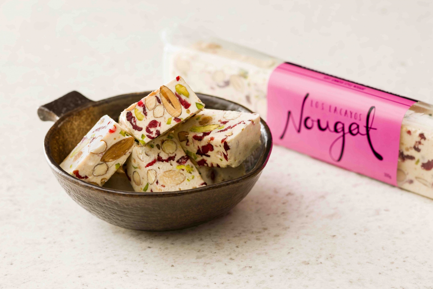 bowl and packet of nougat