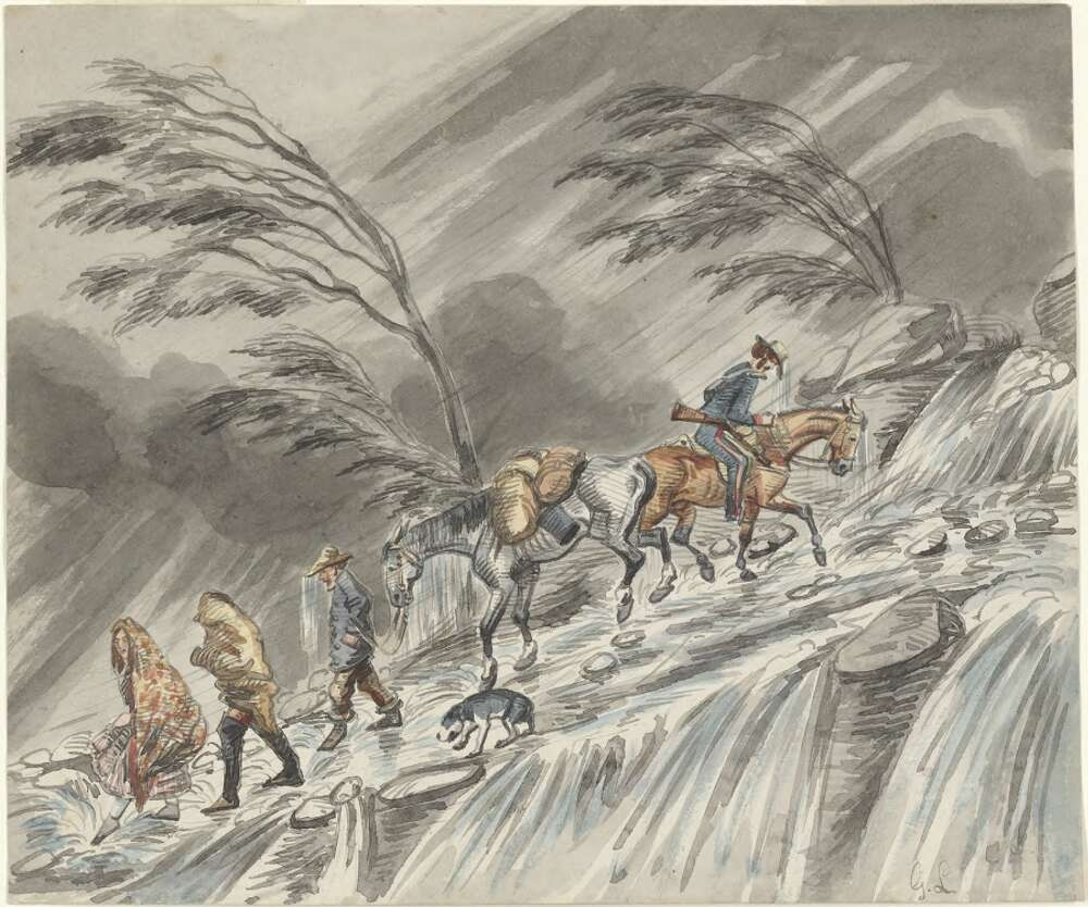 People travelling on the roads, in rain, during the 1850s