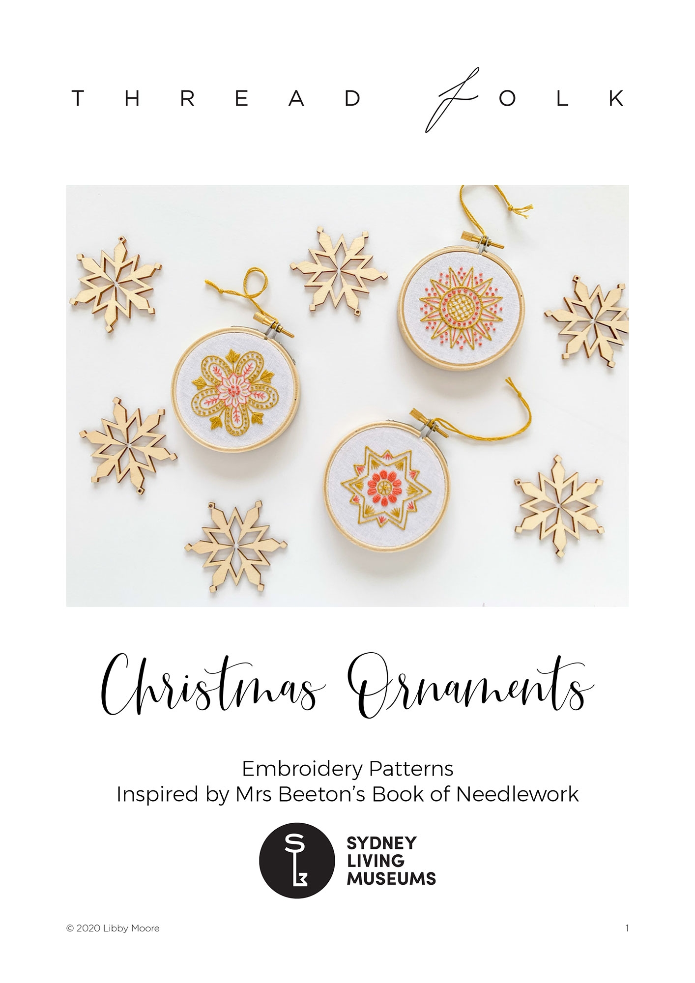 Cover image for instruction booklet with photo of ornaments.