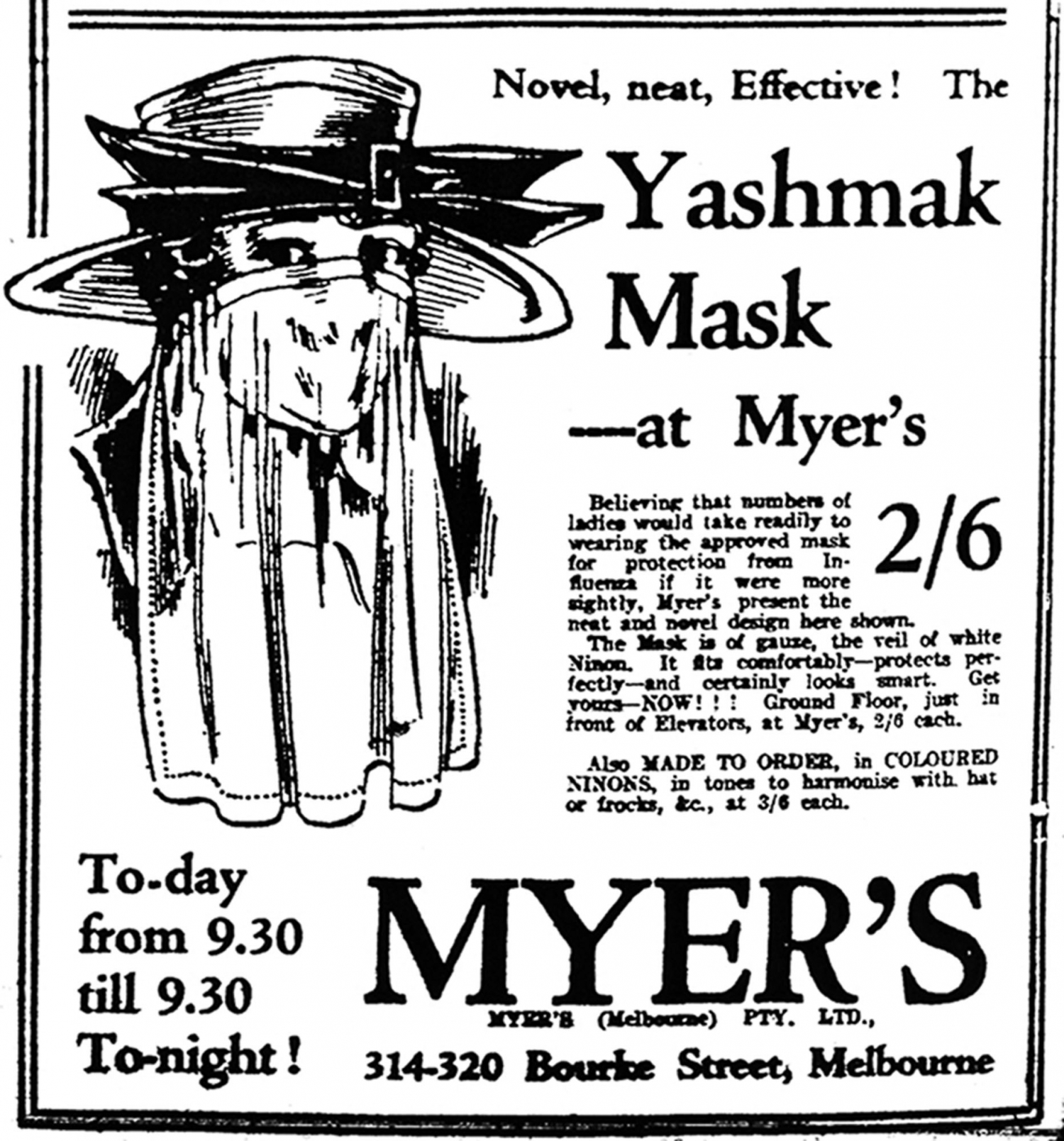 "Advertisement for a ""Yashmak Mask"" available at Myer's."